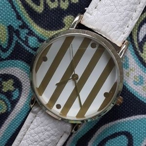 NWT Pretty Goldtone and White Quartz Movt Watch